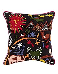 Living Room Accessories Black 17x17 Indian Cushion Cover Single Elephant Cotton Pillow Covers Traditional Embroidered Throw Pillow By Rajrang