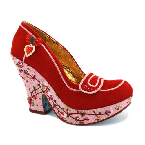 Irregular Choice Pashing Womens Suede Wedges Red Suede - 5