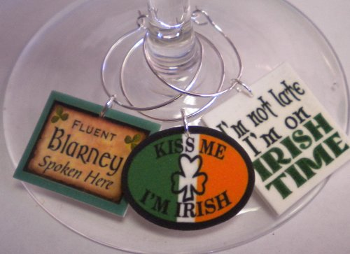 St. Patrick's Day Collection Funny Sayings Wine Charms by FortySevenGems