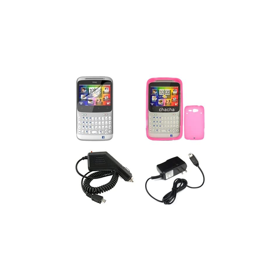 iNcido Brand HTC ChaCha Combo Solid Hot Pink Silicone Skin
