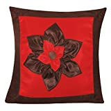 BIG LILY FLOWER PATCH CUSHION COVER BROWN & RED 1 PC (40 X 40 CMS)