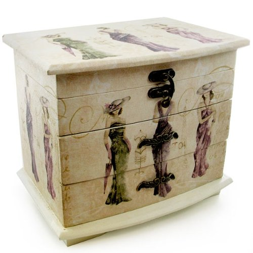 Sophia Vintage Shabby Chic Jewellery Box Ladies Three Drawer Jewellery Box 2668