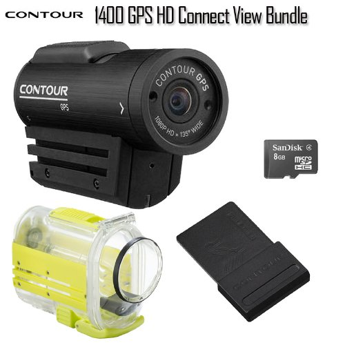 Contour 1400 GPS Full HD Helmet Camera + Contour Connect View 4000 Bluetooth Module + FREE! 8 GB High Speed Memory Card Bundle