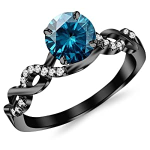 0.63 Carat 14K Black Gold Twisting Infinity Gold and Diamond Split Shank Pave Set Diamond Engagement Ring with a 0.5 Carat Blue Diamond Center (Heirloom Quality)