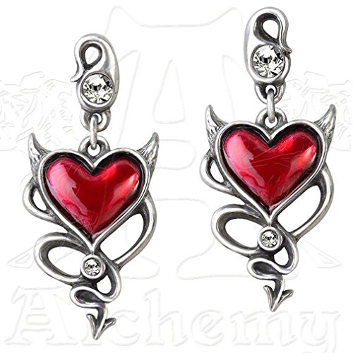 Devil Heart Pair of Earrings by Alchemy UL17 (Devil Heart Earrings compare prices)