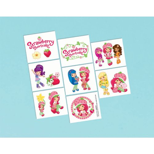 "Amscan Pretty Strawberry Shortcake Party Tattoo (16 Piece), Multi, 2 x 1 3/4"" - 1"