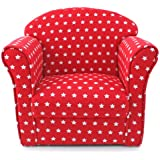Kids Childrens Red with White Stars Fabric Tub Chair Armchair Sofa Seat Stool