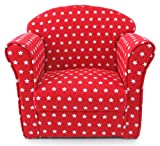 Kids Childrens Red with White Stars Fabric Tub Chair Armchair Sofa Seat Stool, width 50cm