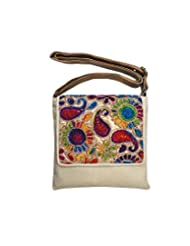 Bhamini Jute Sling Bag With Rainbow Flap (Light Gold)