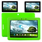 """Skque Brand New 2 Pcs Clear Transparent Anti Glare Screen Protector Film Guard + Silicone Skin Case Cover-Protective Cover Shell in Green For Asus Transformer Pad TF300 TF300T 10.1"""" Tablet"""