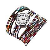 (ミネセンム)Minesam レディース 女性 クォーツ腕時計 レザーブレスレットタイプ ウォッチ アンティーク 本革 ベルト エスニック多重 ダイヤモンド ( ブラック )