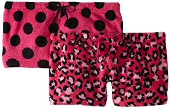 Sweet Junior's 2 Plush Shorts Leopard and Dot, Hot Pink, X-Large