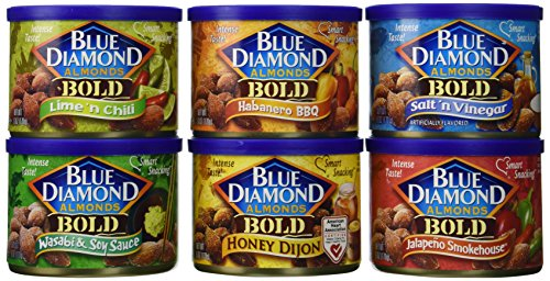 Blue Diamond Almonds - VARIETY BOLD FLAVORS (Total of 12 / 6-Ounce Cans) (Blue Diamond Almonds Chili Lime compare prices)