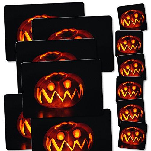addies platzset und eckige glas untersetzer halloween kombi set 12 teilig 6 laminierte. Black Bedroom Furniture Sets. Home Design Ideas
