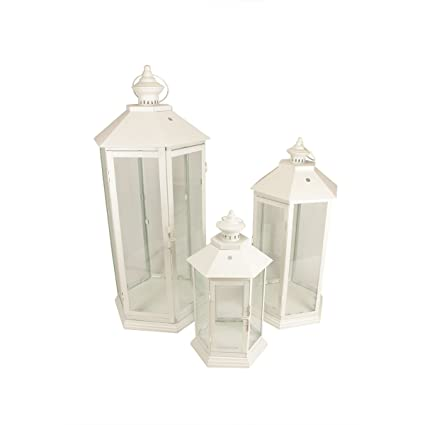 White Traditional Style Pillar Candle Holder Set of 3 Lanterns Centerpiece by Christmas Central