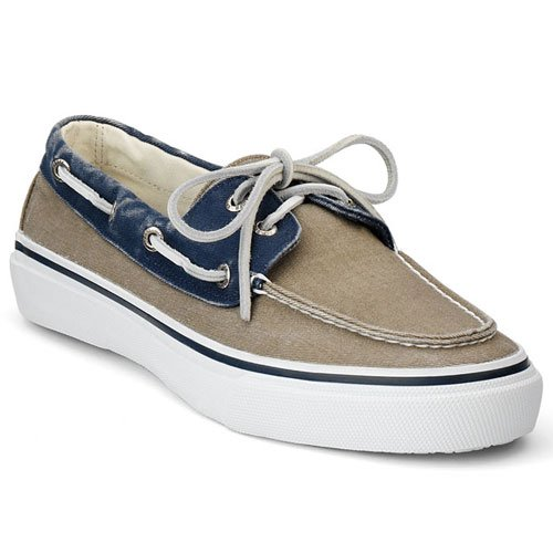 Sperry Top Sider Bahama 2 Eye Mens SZ 9.5 Tan Navy/Taupe New Canvas Boat Shoes