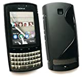 Emartbuy Nokia Asha 303 LCD Screen Protector And Wave Pattern Gel Skin Cover/Case Black