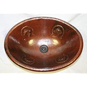 "SimplyCopper 19"" Oval Copper Self Rimming / Vessel Bathroom Sink with Horse and Horseshoe Design"