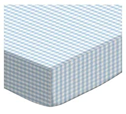 SheetWorld Fitted Pack N Play (Graco Square Playard) Sheet - Blue Gingham Jersey Knit - Made In USA