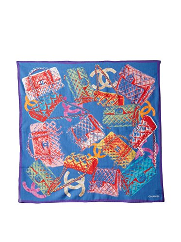 CHANEL Women's Patterned Scarf, Blue/Multi