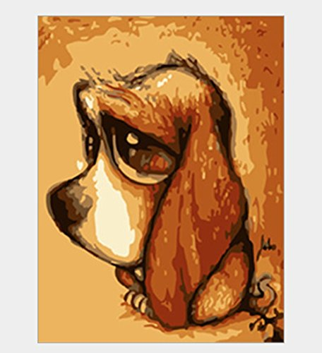 Wooden Frame, paint By Number Cartoon - Dog 12*15 inch