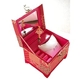 Perfect Valentine Day Gifts for Her - Dancing Ballerina Music Box Containing a Love Necklace (Rose Gold Necklace, One Size)