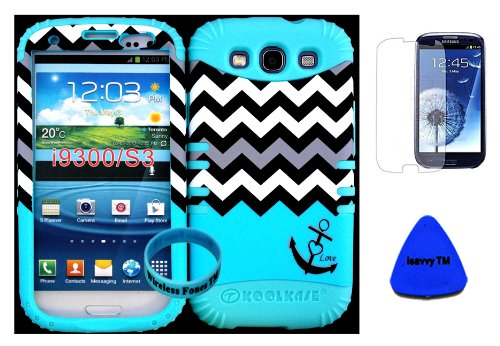 Hybrid Impact Rugged Cover Case Blue Block Chevron Waves With Anchor Hard Plastic Snap On For Samsung Galaxy Slll S3 Fits Sprint L710, Verizon I535, At&T I747, T-Mobile T999, Us Cellular R530, Metro Pcs And All On Baby Teal Silicon Skin (Included: Screen front-846016
