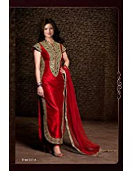 London Beauty Fency Red Embroidered Salwar Suit