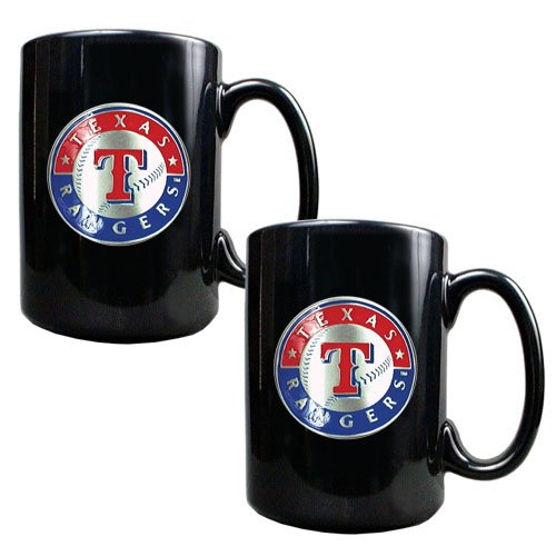 MLB Texas Rangers Two Piece Black Ceramic Mug Set - Primary Logo at Amazon.com