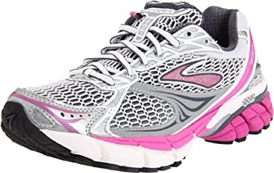 Brooks Women's Ghost 4 Running Shoe,White/Silver/Shadow/Rosebud/Black,10 B US