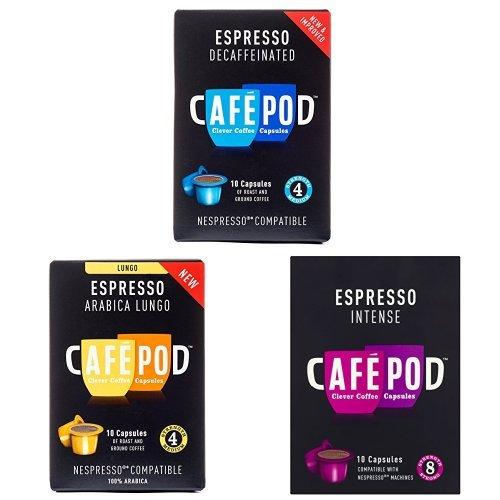 Cafe Pod Nespresson Compatible Bundle (Pack of 12, 120 Pods)