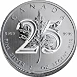 2013 Canadian Maple Leaf 25th Anniversary BU Silver 1oz IN STOCK
