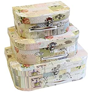 shabby chic set of 3 vintage decor design decorative boudoir suitcase storage boxes amazon. Black Bedroom Furniture Sets. Home Design Ideas