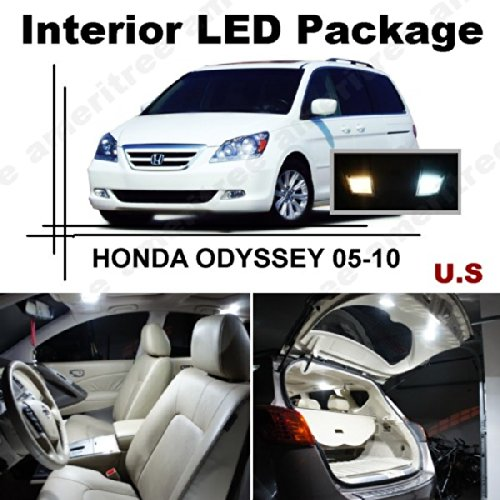 Ameritree Xenon White Led Lights Interior Package + White Led License Plate Kit For Honda Odyssey 2005-2010 (11 Pcs)