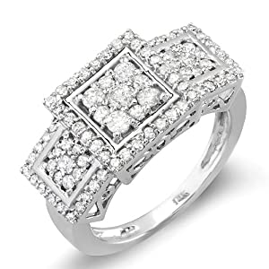 1.25 Carat (ctw) 14k White Gold Engagement Cocktail Round Diamond Ring