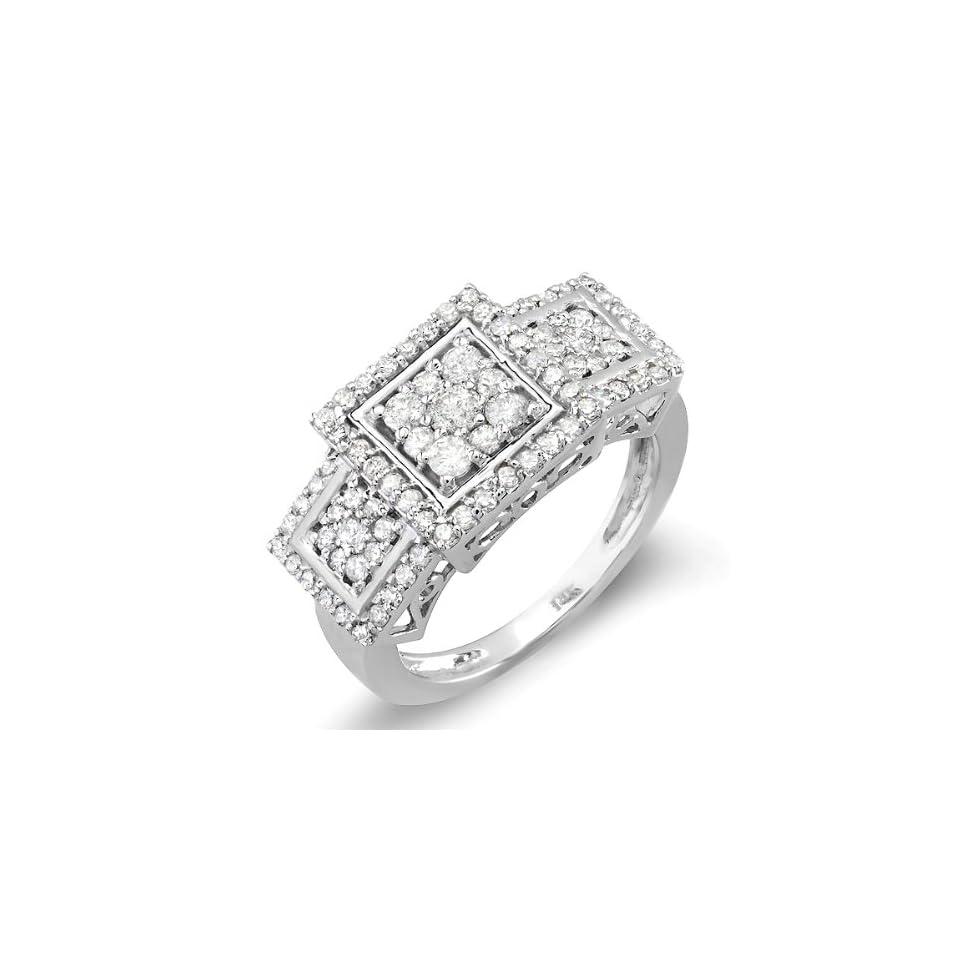 1.25 Carat (ctw) 14K White Gold Engagement Cocktail Round Diamond Ring (Size 5)