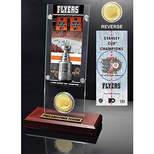 Philadelphia Flyers 2x Stanley Cup Champions Ticket and Bronze Coin Acrylic Display