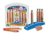 Carioca Baby Jumbo Wooden Crayons with Case and Sharpener (Set of 6 Pencils)