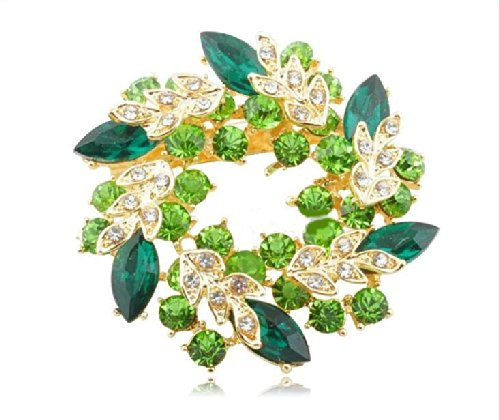 Cute glitter lease style brooch emerald green Christmas