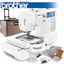 Brother LB-6800PRW Project Runway Computerized Sewing Embroidery Machine w/ USB Port and Grand Slam Package Includes 64 Embroidery Threads with Snap Spools + Prewound Bobbins + Cap Hoop + Stabilizer + 15,000 Embroidery Designs + Scissors ($1,170 Value)