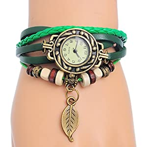 8Years(R) New Fashion Quartz Cool Weave Wrap Around Leather Bracelet Lady Woman Wrist Watch with Leaf Pendant (Green)