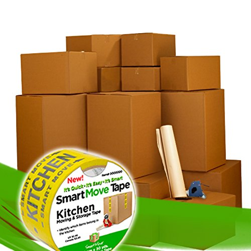 UBOXES 8 Room Kit 100 Bigger Smart Moving Boxes, Tape, Bubble Roll & More