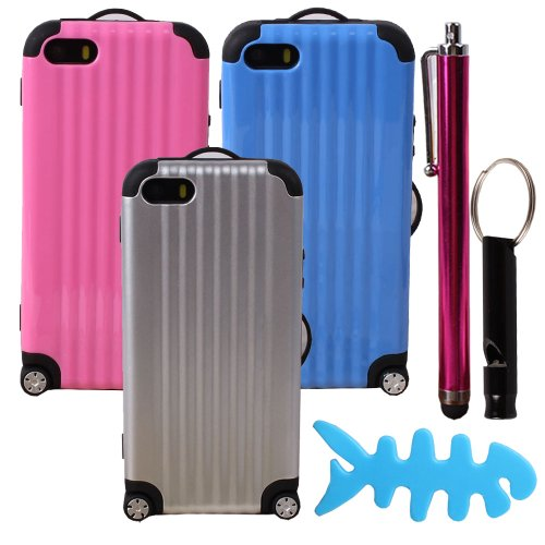 Teenitor(Tm) Luggage Design Pack Of 3 Colors Slim Dual Layer Hybird Defender Protective Case For Iphone 5 5S (With Screen Protector, Stylu, Fish Earphone Cable Organizer, Whistle) Shipping From Usa