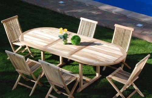 SAM® Teak Holz Gartengruppe Gartenmöbel Menorca 7 teilig, bestehend aus 6 x Klappstühle + 1 x Auszugstisch, zusammenklappbare Stühle, leicht zu verstauen günstig