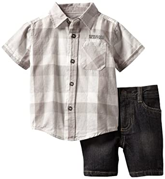 Kenneth Cole Baby-boys Infant Plaid Shirt with Denim Shorts, Gray, 12 Months
