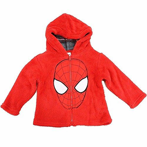 Marvel Spiderman Toddler Boy's Spiderman Mask Red Full Zip Velboa Hoodie