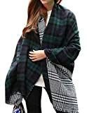 Urban CoCo Women's Soft Tartan Checked Plaid Scarf Shawl Cape Blanket Shawl Wrap Scarf Poncho with Fringe Trims (Series 1 green)