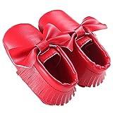 waylongplus Prewalker infantil suave soled borla Bowknots Cuna zapatos PU Moccasins rojo rojo oscuro Talla:11 (3-6 Months)
