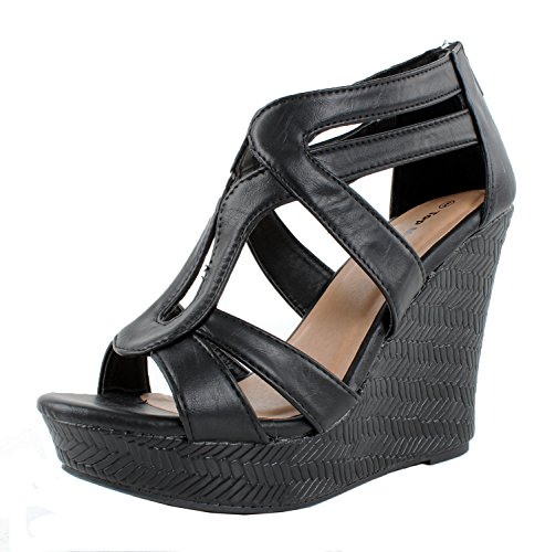 JJF Shoes Lindy-1 Black Faux Leather Gladiator Strappy Dress Platform High Wedge Sandals-7