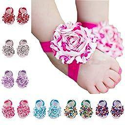 ZHW Baby Girl\'s Barefoot Sandals Flower  ( Set of 10 )